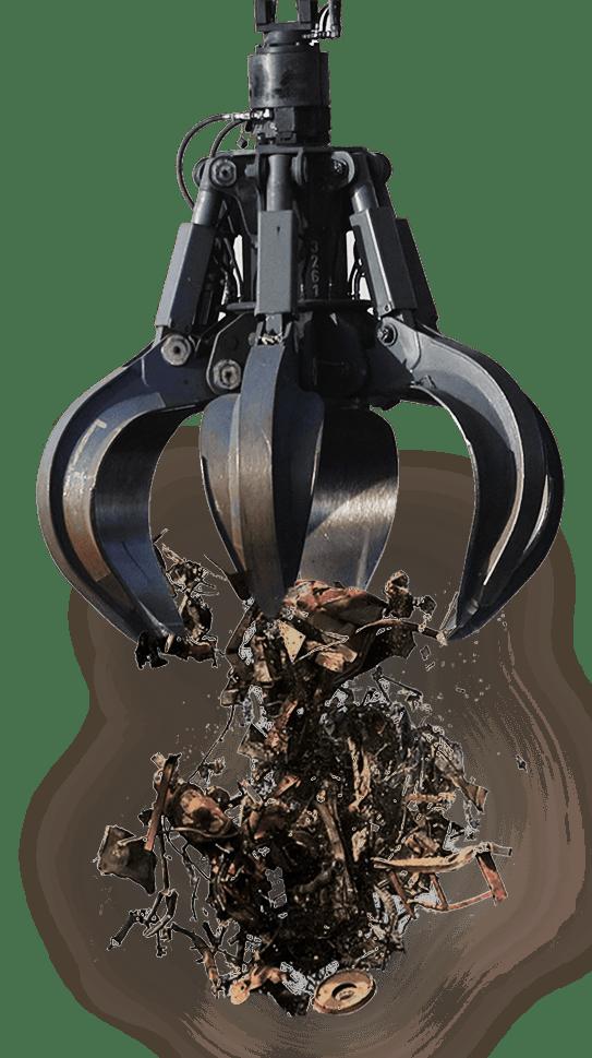 Grijper met schroot (scrap metal)